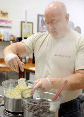 John Toner, of Hellertown and the owner of Freckle Face Fudge, makes fudge in the Artisan Kitchen that's housed in Warm Sugar Bakery in Hellertown.