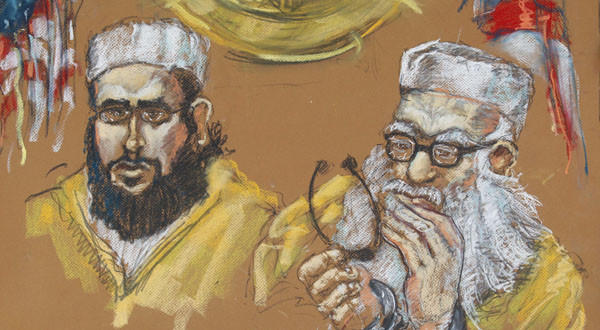 A May 16, 2011, artist rendering shows Hafiz Khan, right, and one of his sons, 24-year-old Izhar Khan, in federal court in Miami.