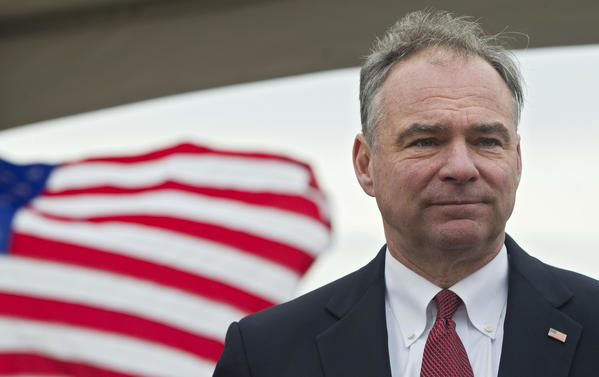 Senator Tim Kaine pauses for a moment prior to a news conference on sequestration outside of the Huntington Ingalls Industries Bateman Center on Tuesday morning.