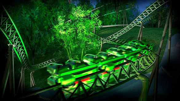 The 60-mph Helix coaster will hug the wooded hillside of Sweden's Liseberg amusement park.
