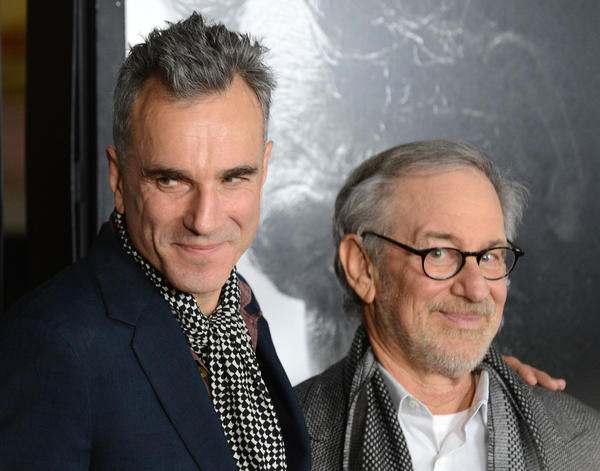 "Actor Daniel Day-Lewis and director Steven Spielberg are seen at a screening of ""Lincoln"" in Hollywood in November."
