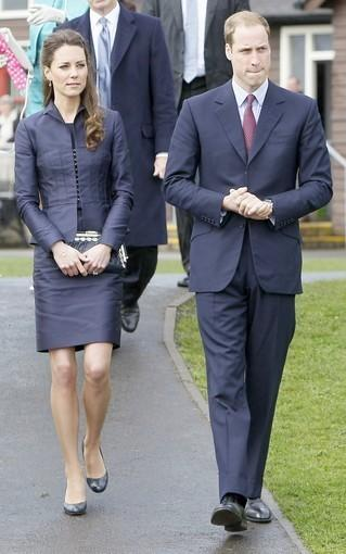Britain's Prince William and his fiancée Kate Middleton are pictured during a visit to Witton County Park, in Darwen, north-west England, on April 11, 2011. The couple also visited Darwen Aldridge Community Academy earlier in the day Monday.