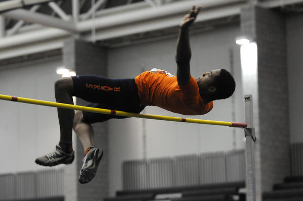 Demario Gray of Bloomfield won the high jump at 6 feet 6 at the State Open Indoor Track & Field Championships at the Floyd Little Athletic Center in New haven Tuesday evening.
