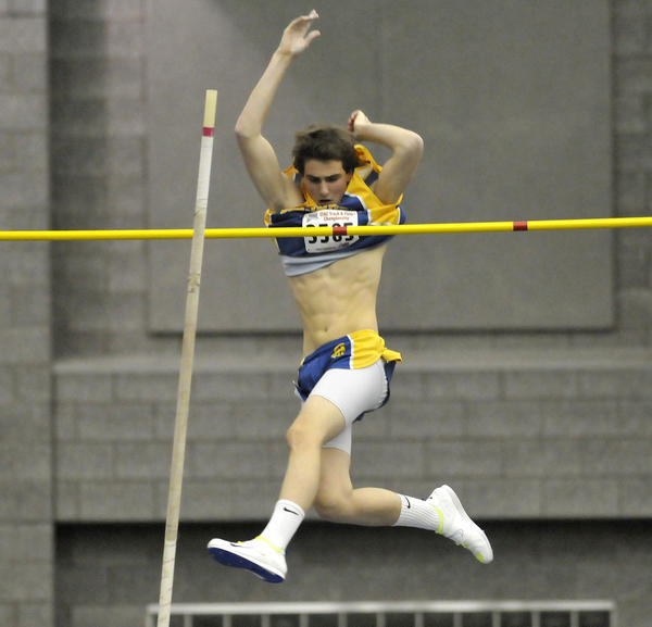 Chandler Ives of Simsbury cleared 13 feet, 6 inches during the finals of the pole vault, good enough for second place, during the State Open Indoor Track and Field meet at the Floyd Little Athletic Center in New Haven Tuesday evening.