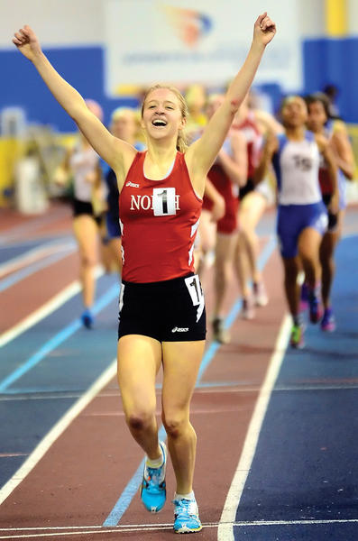 North Hagerstown's Emily Ward celebrates after winning the Maryland Class 3A girls 800-meter run Tuesday.