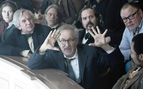 "Director Steven Spielberg sets up a shot in the film ""Lincoln."""