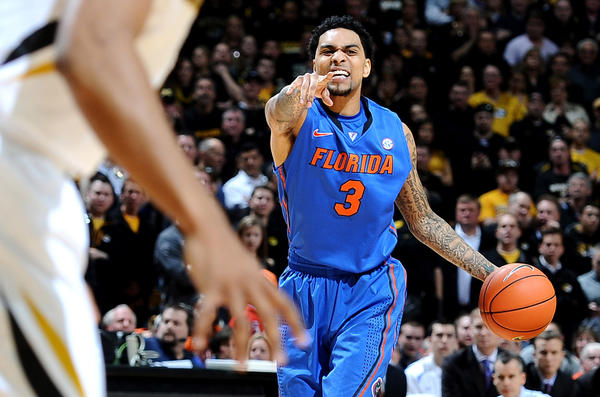 Florida Gators guard Mike Rosario (3) yells at his teammates against the Missouri Tigers during the first half at Mizzou Arena.