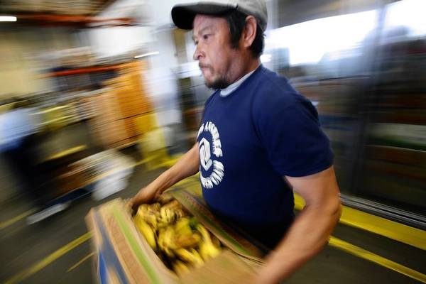 David Navarro of the Los Angeles Boys & Girls Club collects food items at the Los Angeles Regional Food Bank on 41st Street.