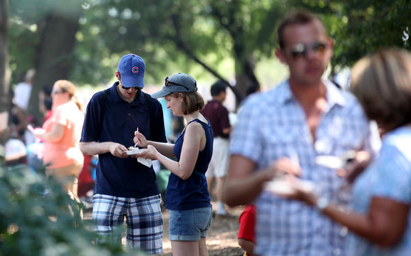 People eat in the shade of Grant Park while at Taste of Chicago in downtown Chicago last year.