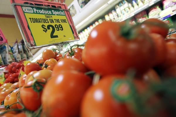 Tomatoes for sale in a New York City grocery store. Rising vegetable prices drove up the Producer Price Index 0.2% in January.