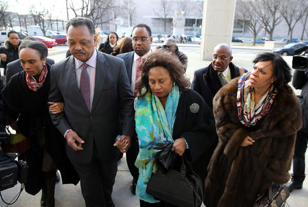 Rev. Jesse Jackson, and family -- daughter Santita Jackson, left, wife Jacqueline, right, and son Jonathan, center back, arrive to support Jesse Jackson Jr. at U.S. District Court in Washington, D.C.