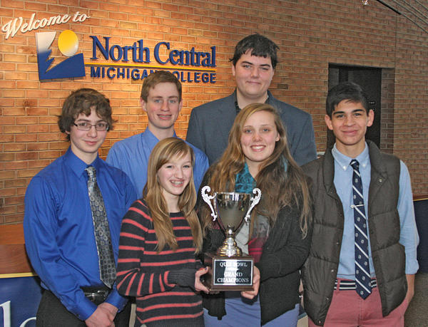 Petoskey A Team winners of the Char-Em ISD Invitational Quiz Bowl include (from left) Jeremiah Johnson, Josh Pemberston, Emma Kendziorski, Nick Maragiolio, Rachel Ross and Griffin Christensen.