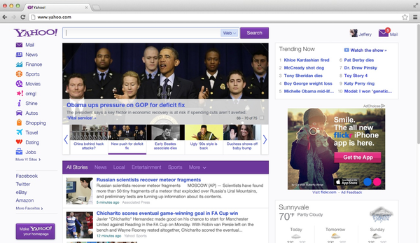Yahoo announced its first home-page redesign in four years Wednesday.