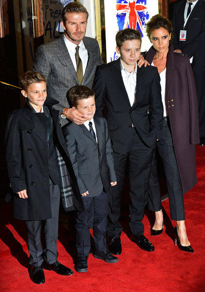 "Victoria Beckham (R) and her husband David Beckham (2nd L) arrive with their children (L to R): Romeo, Cruz and Brooklyn for the premiere of the musical ""Viva Forever!"", based on the music of the Spice Girls, in central London December 11, 2012."