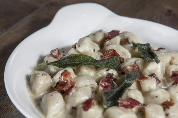 Gnocchi with fried sage, pancetta and truffle cream sauce