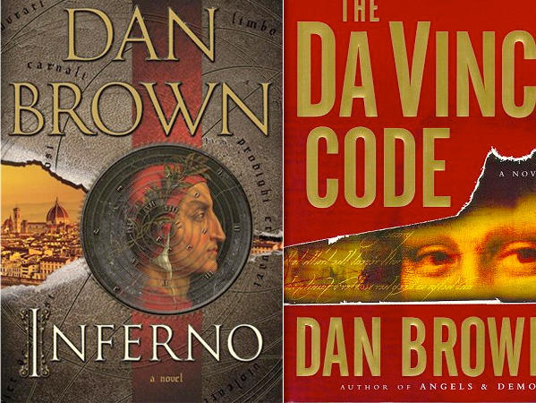 "The covers of Dan Brown's forthcoming novel, ""Inferno,"" and his blockbuster ""The Da Vinci Code."""