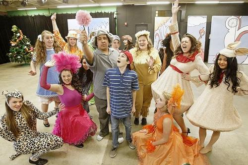 "Cast members rehearse scenes for Edison High School's production of ""Seussical the Musical"" on Feb. 14."