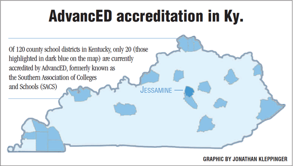 20 of Kentucky's 120 school districts are accredited by AdvancED