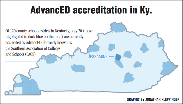Of 120 county school districts in Kentucky, only 20 (those highlighted in dark blue on the map) are currently accredited by AdvanED.