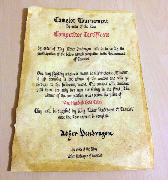"This ""Competitor Certificate"" appeared in Season 3 of ""Merlin."""
