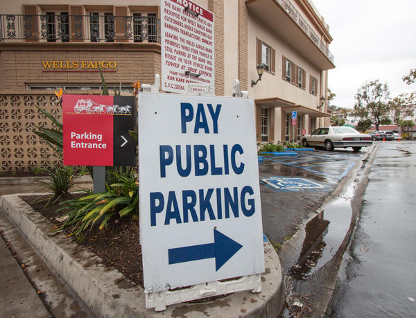 The centrally located Wells Fargo in downtown Laguna has highly coveted parking spots.
