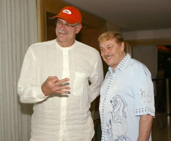 Phil Jackson, shown here with Jerry Buss in 2002, will be one of the speakers at the late Lakers owner's memorial service.