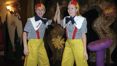Kendall Clevenger, 13, and Maria Woodmancy, 15, of Confluence, have a lot of fun in their Tweedledee and Tweedledum scene.