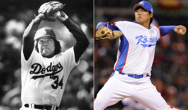 Dodgers legend Fernando Valenzuela, left, and new pitcher Hyun-Jin Ryu are similar in build and demeanor, according to pitching coach Rick Honeycutt.