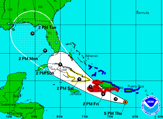 The cone of error for Tropical Storm Isaac before it grew into a hurricane and grazed Florida last August.