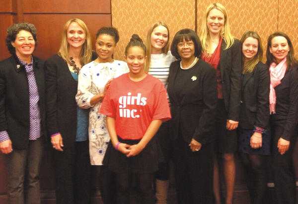 From left, National Girls and Women in Sports Day Panel Members: Shawn Ladda, Professor, Manhattan College and Past President, National Association for Girls and Women in Sports; Nancy Hogshead-Makar, four-time Olympic medalist swimmer, Senior Director of Advocacy for the Women's Sports Foundation; Dominique Dawes, three-time Olympic gymnast, co-chair of the President's Council on Fitness, Sports and Nutrition and Fitness; Sydny Boney, Girls Inc. of Washington County member; Grete Eliassen: freestyle skier, won a bronze medal at Winter X games; Lillian Greene-Chamberlain, Olympic gold medalist in track; Esther Lofgren, member of the Olympic gold medal winning women's rowing team at the 2012 Summer Olympics; Emily Hughes, Olympic and national figure skater; and Sarah Hughes, Olympic gold medal winner in figure skating.