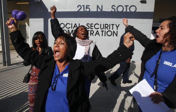 Households of people ages 65 to 74 derive 54% of their income from Social Security while those ages 85 and older got 66% from that source, according to the Employee Benefit Research Institute. Above, Teresa Colio leads a protest at the Social Security Administration office in Los Angeles.