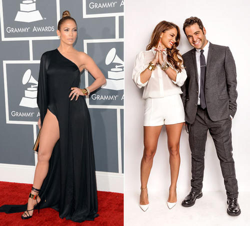 Jennifer Lopez at the 55th Grammy Awards and her stylists, Rob Zangardi and Mariel Haenn.