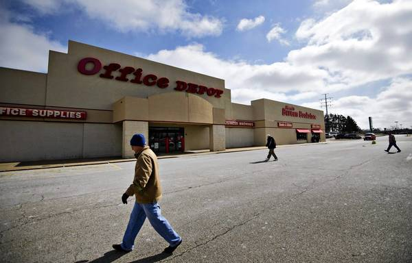 OfficeMax and Office Depot have suffered declining sales since the recession are struggling to generate a 3% profit margin, compared with a margin of 8% or more at Staples, IBISWorld analyst Dale Schmidt said. Abve, a store in Peoria, Ill.