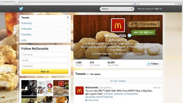 Burger King's Twitter account shows hacking activity before the account was suspended by Twitter in this screen grab.