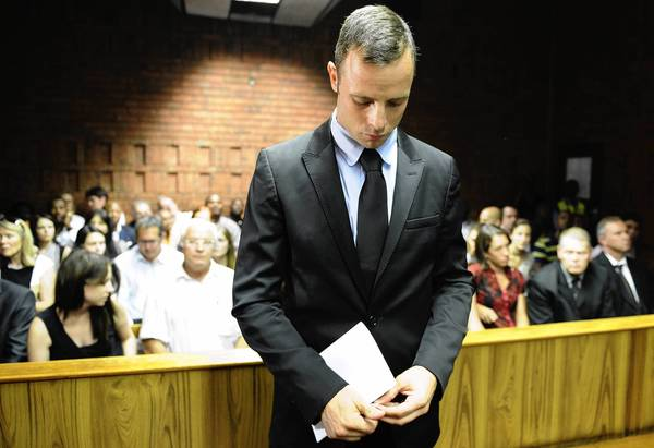 South African Olympic athlete Oscar Pistorius appears in court in Pretoria during his bail hearing.