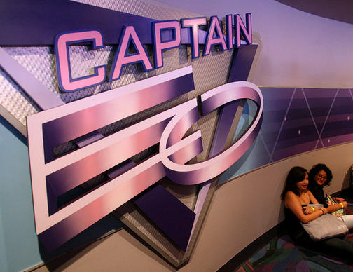 Disney cast members wait in the queue area of the Captain EO show at the Imagination! pavilion at Epcot, during a sneak preview, Wednesday, June 30, 2010. The 17-minute 3-D film featuring Michael Jackson will