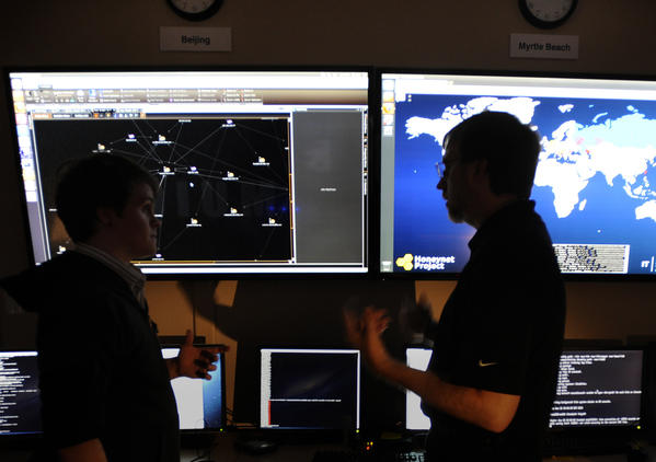 Analysts work in the Security Operations Center at the Dell SecureWorks office in Myrtle Beach, S.C.