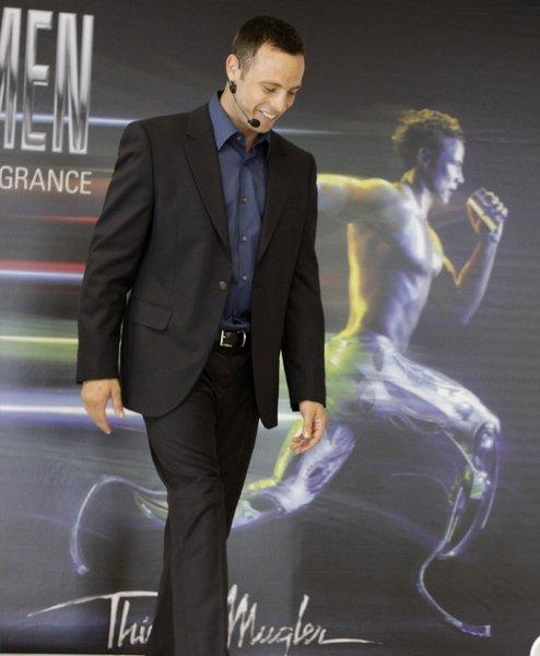 Oscar Pistorius attends the 2011 launch of French designer Thierry Mugler's fragrance A-Men in Johannesburg.