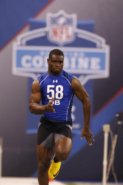 Florida defensive back Major Wright runs the 40-yard dash during the 2010 scouting combine.