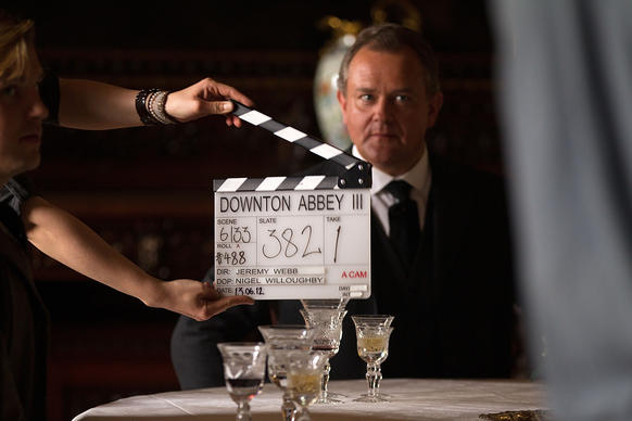 "Hugh Bonneville, who plays the Earl of Grantham,  awaits the call of ""Action"" during the filming of Season 3 of the hit period drama ""Downton Abbey."""