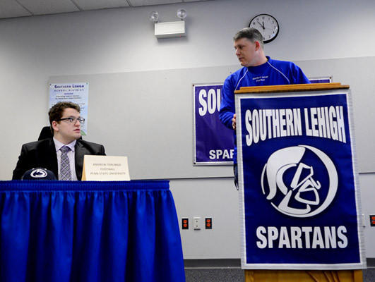 Southern Lehigh student Andrew Terlingo has signed to play football at Penn State. His football coach John Toman speaks about him. This is at signing ceremony at Southern Lehigh High School Wednesday.