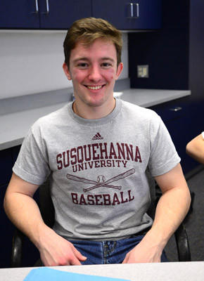 Southern Lehigh student Dalton Binder has signed to play baseball at Susquehanna University. This is at signing ceremony at Southern Lehigh High School Wednesday.