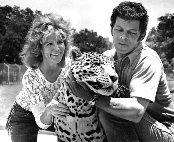 Pat and Ted Derby are shown with their pet jaguar, Clyde, in 1973. Pat Derby led the Performing Animals Welfare Society, a leading voice calling attention to the plight of animals in captivity.