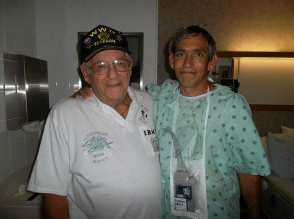 Irwin Baron (left) was given the Phoenix Award in Pembroke Pines for saving the life of his handyman Ken Gundel