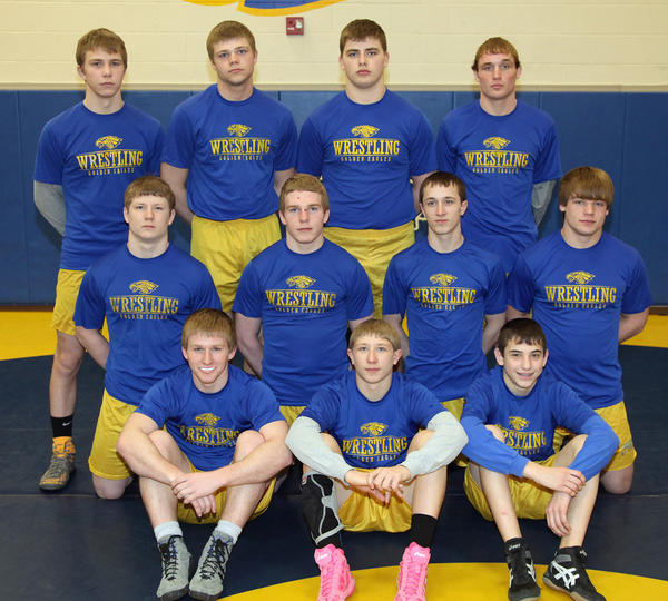 Eleven Aberdeen Central wrestlers qualified for the State A Meet Friday-Saturday at Watertown. The Golden Eagle wrestlers are, front row left to right, Mitchell Johnson, Collin Haar and Josh Moore; middle row from left, Grayson Neuharth, Zach Melcher, Trevor Hieb and Aaron Henley; back row from left, John Frisco, Cole Carlson, Sam Schaunaman and Griffin Hieb.
