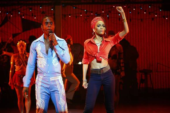 "Adesola Osakalumi and Michelle Williams in ""Fela!"""