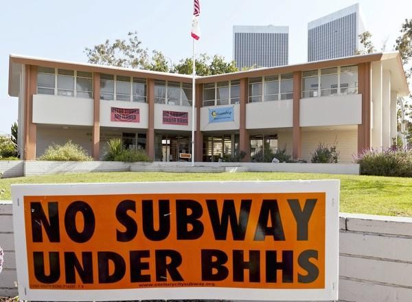 Some in Beverly Hills oppose construction of a subway tunnel under Beverly Hills High School.