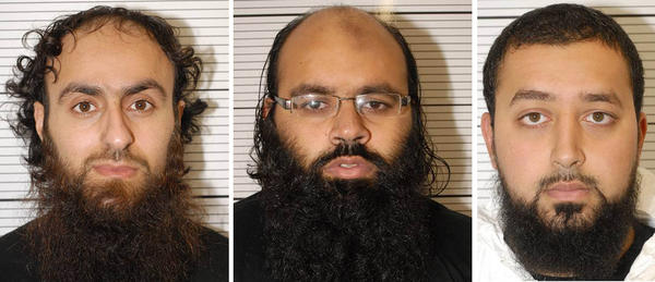 "Police photos show, from left, Irfan Khalid, Irfan Naseer and Ashik Ali, all from Birmingham, England, who were found guilty Thursday of being ""central figures"" in a terrorist bomb plot."