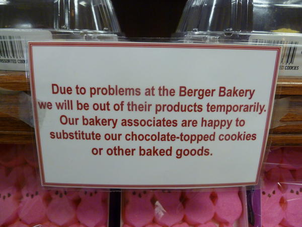 Berger cookies were unavailable at the Eddie's of Roland Park on N. Charles Street