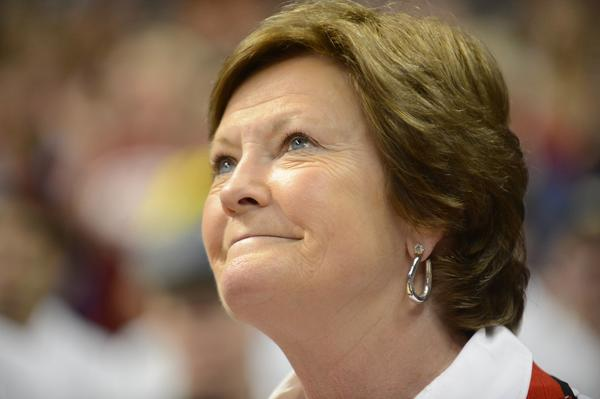 Tennessee Lady Volunteers head coach Pat Summitt smiles while on the court for a halftime ceremony in the semifinals of the 2012 NCAA women's basketball Final Four between the Baylor Bears and the Stanford Cardinal